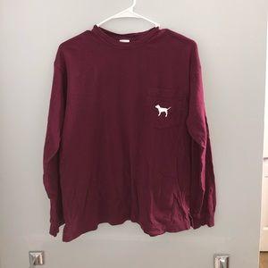 Long sleeve Maroon Pink shirt